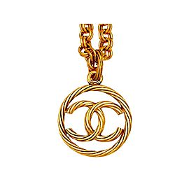 Chanel CC Logo Gold Tone Metal Logo Round Necklace CC