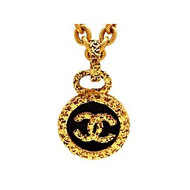 Chanel CC Logo Gold Tone Metal Black Round Necklace CC Logo