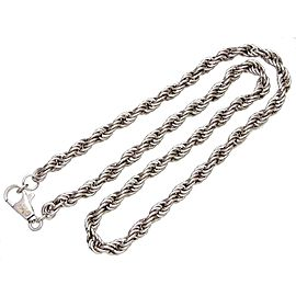 Chanel CC Logo Silver Tone Metal Chain Necklace
