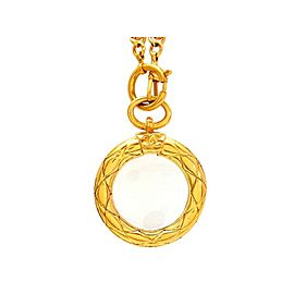Chanel CC Logo Gold Tone Metal Quilted Loupe Necklace