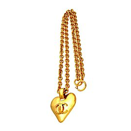 Chanel CC Logo Gold Tone Metal Heart Necklace