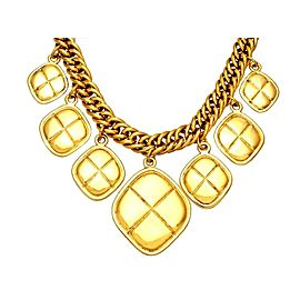 Chanel CC Logo Gold Tone Metal Chain Rhombus Necklace