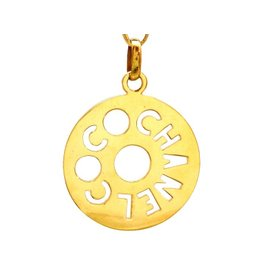 Chanel CC Logo Gold Tone Metal Round Necklace
