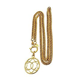 Chanel CC Logo Gold Tone Metal Hoop Necklace