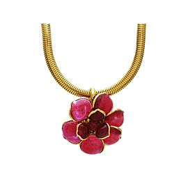 Chanel CC Logo Gold Tone Metal Camellia Pink Gripoix Glass Necklace