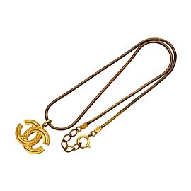Chanel CC Logo Gold Tone Metal Necklace