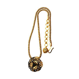 Chanel CC Logo Gold Tone Metal Flower Rhinestone Necklace CC Logo