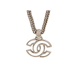 Chanel CC Logo Silver Tone Metal Necklace
