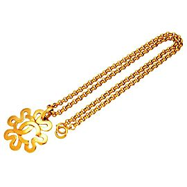 Chanel CC Logo Gold Tone Metal Flower Necklace