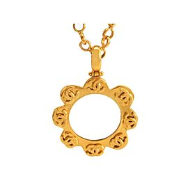 Chanel CC Logo Gold Tone Metal Flower Loupe Necklace CC Logo