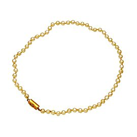 Chanel CC Logo Gold Tone Metal Pearl Necklace