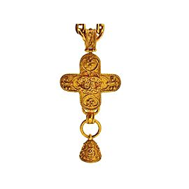 Chanel CC Logo Gold Tone Metal Cross Bell Dangle Necklace