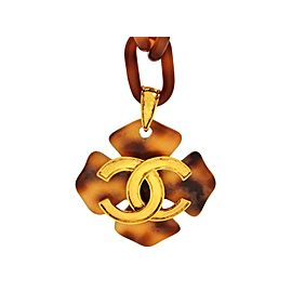 Chanel CC Logo Gold Tone Metal Plastic Tortoiseshell Chain Necklace