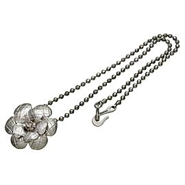 Chanel Silver Tone Metal Camellia Flower Necklace