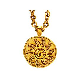 Chanel CC Logo Gold Tone Metal Sun Round Necklace