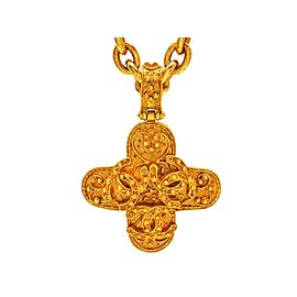 Chanel Triple Gold Tone Metal Cross Necklace