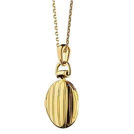 "Monica Rich Kosann Yellow Gold Petite Pinstripe Locket on a 17"" Chain"