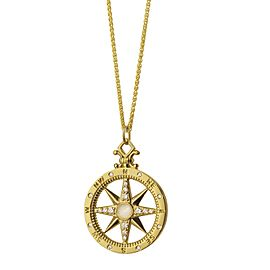 Monica Rich Kosann Yellow Gold Compass Moonstone Charm With Diamonds .29carats