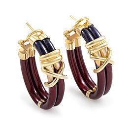 Nouvelle Bague 18K Yellow Gold & Enamel Hoop Earrings