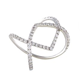 Odelia 18K White Gold & 1.07ct. Diamond Pave Openwork Band Ring Size 6.25