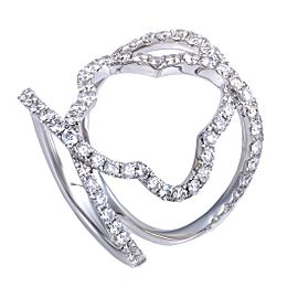 Odelia 18K White Gold & 1.06ct. Diamond Pave Quatrefoil Openwork Band Ring