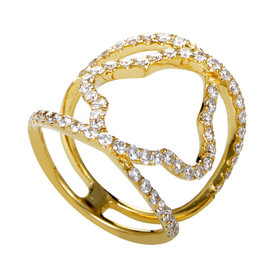 Odelia 18K Yellow Gold Diamond Pave Quatrefoil Band Ring