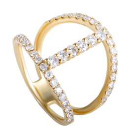 Odelia 18K Yellow Gold Diamond Pave Openwork Ring Size 6