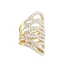 Odelia 18K Yellow Gold Woven Diamond Pave Band Ring Size 6