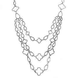 Odelia 18K White Gold Full Diamond Pave Multi-Strand Necklace