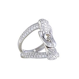 Odelia 18K White Gold & 1.10ct. Diamond Pave Openwork Buckle Ring Size 6.75