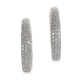 Odelia 18K White Gold Diamond Pave Hoop Earrings