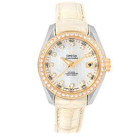 Omega Seamaster Aqua Terra 231.28.30.20.55.001 Stainless Steel 18K Rose Gold Diamond Automatic 30mm Womens Watch