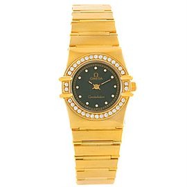 Omega Constellation 18K Yellow Gold wDiamond Black Dial Quartz 22.5mm Womens Watch