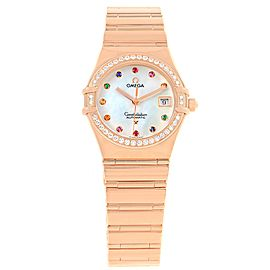 Omega Constellation 1140.79 18K Rose Gold with Diamond, Sapphire, Pearl & Emerald Quartz 27.5mm Womens Watch