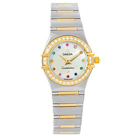 Omega Constellation 1358.79.00 18K Rose Gold & Stainless Steel with Diamond, Sapphire, Pearl & Emerald Quartz 22.5mm Womens Watch