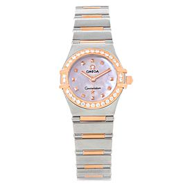 Omega Constellation 1368.71.00 Stainless Steel 18K Rose Gold Diamond Quartz 22.5mm Womens Watch