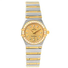Omega Constellation 1267.15.00 Stainless Steel and 18K Yellow Gold Diamond Quartz 22.5mm Womens Watch