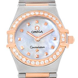 Omega Constellation 1368.71.00 Stainless Steel & 18K Rose Gold with Diamond Quartz 22mm Womens Watch