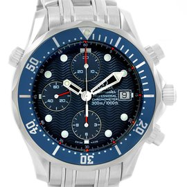 Omega 2599.80.00 Seamaster Stainless Steel Bond Chronograph Blue Dial 41.5 Mens Watch