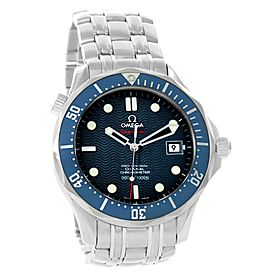 Omega Seamaster 2222.80.00 Stainless Steel & Blue Wave Dial 36.25mm Unisex Watch