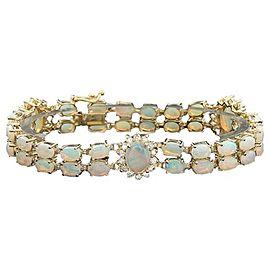 14K Yellow Gold Precious Opal and Diamond Bracelet