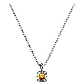 David Yurman Sterling Silver Citrine & 0.17ct Diamond Albion Pendant Necklace