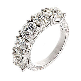 Platinum Diamond Engraved Ring Size 5.75