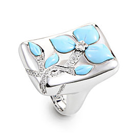 Oro Trend 18K White Gold Diamond & Turquoise Flower Ring