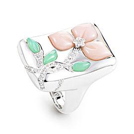 Oro Trend 18K White Gold Multi-Gem Floral Ring