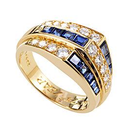 Oscar Heyman 18K Yellow Gold 0.65ct Diamond & Sapphire Ring Sz 6