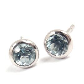 Tiffany Co Peretti Platinum Color By the Yard Aquamarine Stud Earrings