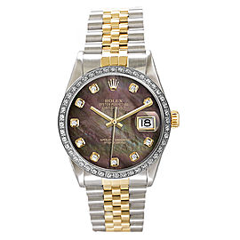 Rolex Men's Datejust Two Tone Custom Diamond Bezel & Dark Pearl Diamond Dial