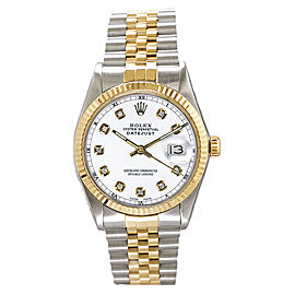 Rolex Men's Datejust Two Tone Fluted Custom White Diamond Dial