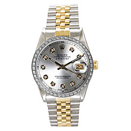 Rolex Men's Datejust Two Tone Custom Diamond Bezel & Silver Diamond Dial